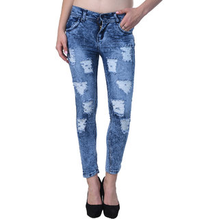 Code Yellow Women's Blue Color Stylish Ripped Jeans