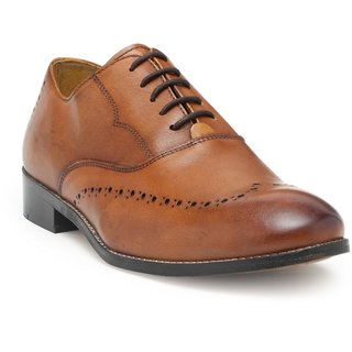 HATS OFF ACCESSORIES Premium Leather Tan Oxford Shoes With Perforated Detaling (HOA-AW1709)