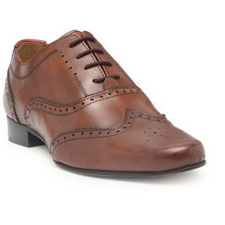 HATS OFF ACCESSORIES Genuine Leather Tan Oxford Brogues Shoes For Mens (HOA-AW1706)