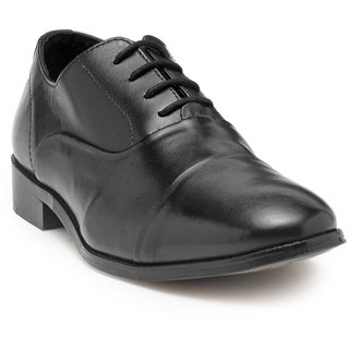 HATS OFF ACCESSORIES Premium Black Leather Oxford Shoes With Blind Stitching (HOA-AW1703)