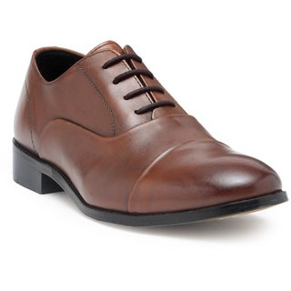 HATS OFF ACCESSORIES Premium Tan Leather Oxford Shoes With Blind Stitching (HOA-AW1703)