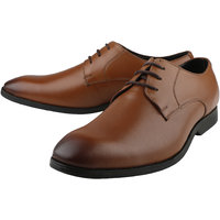 Kanprom Tan Formal Derby Genuine Leather Shoes For Men