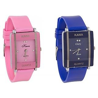 Combo Of Two Watches-Baby Pink Blue Rectangular Dial Kawa Watch For Women by 5STAR