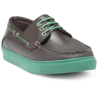 HATS OFF ACCESSORIES Genuine Leather Dark Borwn Boat Shoes For Mens (HOAJ-SS18003C)