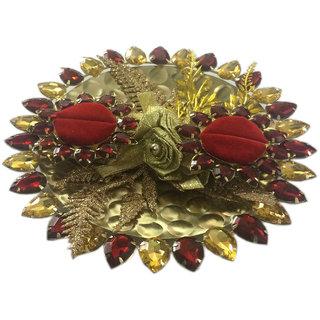 Golden Glitter Wedding / Engagement Ring Platter With Couple Ring Holder