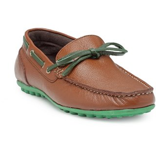 HATS OFF ACCESSORIES Genuine Leather Classic Tan Boat Shoes For Mens (HOAJ-SS18001A)