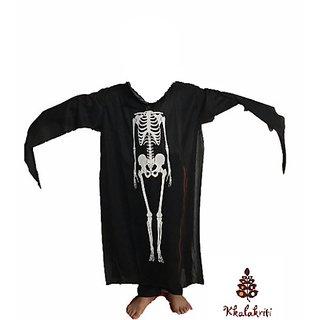 Ghost Skeleton Printed Fancy Dress Halloween Costume For Kids