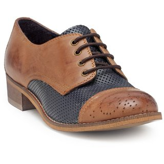 HATS OFF ACCESSORIES Genuine Leather Derby Loafers With Brogue Detaling (HOA9)