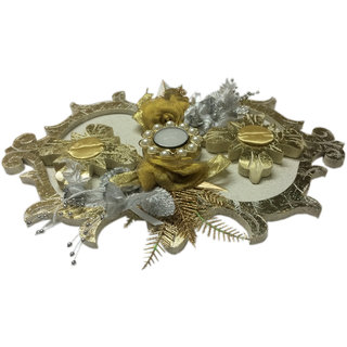 Wooden Textured  Sprinkled Golden Off White Wedding Platter With 2 Ring Holders