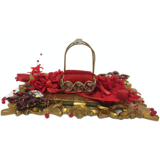 Golden And Red Wedding Ring Platter With Single Ring Holder
