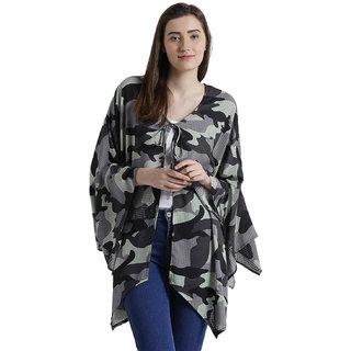 Texco Women Grey & Black Camouflage  Kimono Shrug