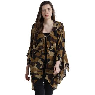 Texco Women Khaki & Black Camouflage  Kimono Shrug