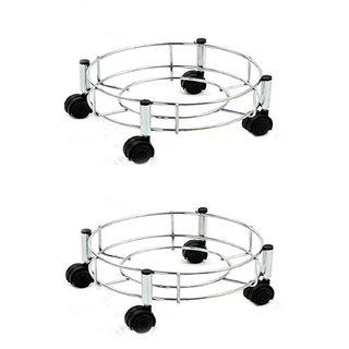 Manoj Sunlight Stainless Steel Cylinder Trolley with Wheels / Gas Trolley / LPG Cylinder Stand / Stainless Steel Wire Gas Cylinder Trolley / Steel Wire Gas Trolley Pack of 2