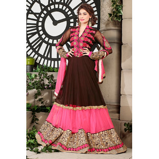 Brown And Pink Georgette Gown-Style Embroidered Anarkali Suit With Dupatta
