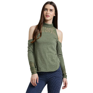 0418b1021a0b1 Buy Texco Women Olive green Solid Cold shoulder Top Online - Get 62% Off