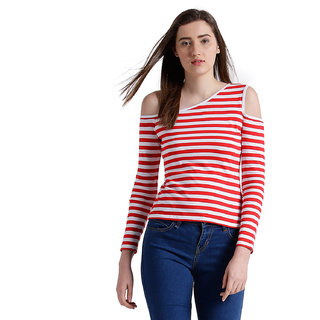 a874c5ee1e2bd Buy Texco Women Red   white Striped One off shoulder Top Online ...