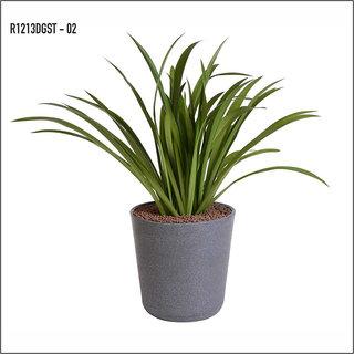 Sereno Bello Plastic Flower Pot Round Planter (12 x 13)  in Dark Grey Stone finish (Home Decor Planters)