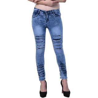 Code Yellow Women's Slim Fit Blue Color Ripped Washed Casual Jeans