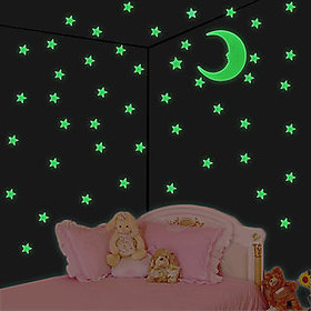 SNR Night Glowing Radium Magic Stars of Paper for Kids Rooms - 1 Pc