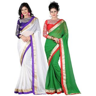 Women Combo Of White  Green Designer Chiffon Saree