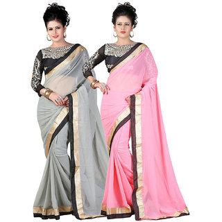 Women Combo Of Grey  Pink Designer Chiffon Saree