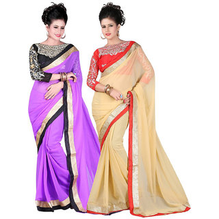 Online Fayda Purple  Beige Raw Silk Embroidered Saree With Blouse