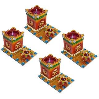 Craft Art India Brown Religious Handmade Tea Light Candle / Tulsi Diya With Om And Swastika - set of 4 pcs {CAI-DIYA-0075-04 / Size(CM):7.62x8.25x10.8}