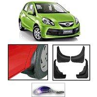 Uneestore- Honda Brioa-Mud Flaps O.E Type Set Of 4 Pcs With Free Car Shaped Led Key Chain