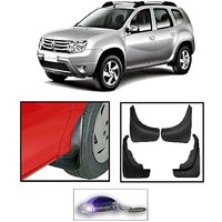 Uneestore- Renault Duster-Mud Flaps O.E Type Set Of 4 Pcs With Free Car Shaped Led Key Chain