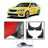 Uneestore-Skoda Laura- Mud Flaps O.E Type Set Of 4 Pcs With Free Car Shaped Led Key Chain