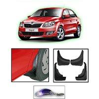 Uneestore- Skoda Rapid-Mud Flaps O.E Type Set Of 4 Pcs With Free Car Shaped Led Key Chain