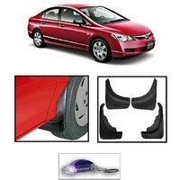 Uneestore- Honda Civic-Mud Flaps O.E Type Set Of 4 Pcs With Free Car Shaped Led Key Chain