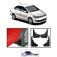 Uneestore-Volksvagen Vento- Mud Flaps O.E Type Set Of 4 Pcs With Free Car Shaped Led Key Chain