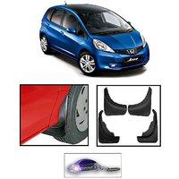 Uneestore- Honda Jazz-Mud Flaps O.E Type Set Of 4 Pcs With Free Car Shaped Led Key Chain