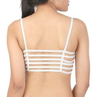 c929bdc84b Shoppy Villa Enterprise White Color 6 Straps Padded Bralette Bra (removable  pads)(Size