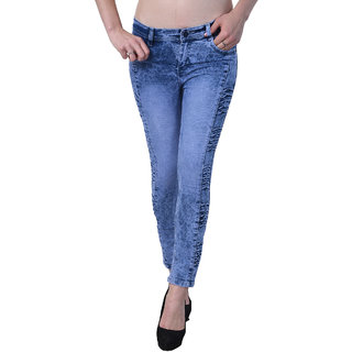 Code Yellow Women's Slim Fit Blue Color Ripped Washed Casual Low Waist Jeans