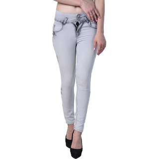 Essence Women's Slim Fit Grey Color Ripped Washed Casual Jeans
