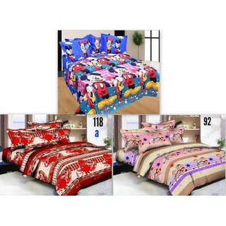 Attractivehomes Beautiful Glace Cotton 3D Printed 3 Double Bedsheets With 6 Pillow Covers (Combo Of 3)