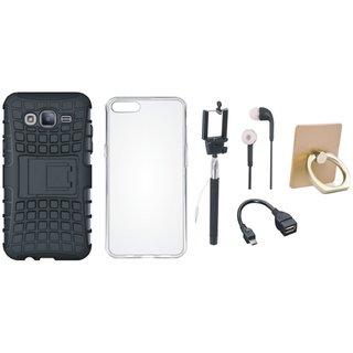 Vivo Y55L Defender Tough Hybrid Shockproof Cover with Ring Stand Holder, Silicon Back Cover, Selfie Stick, Earphones and OTG Cable