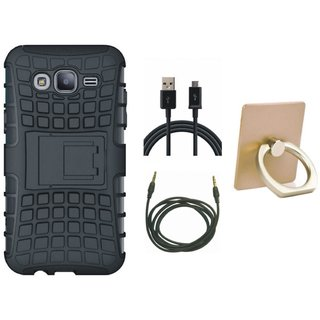 Vivo Y55 Shockproof Tough Armour Defender Case with Ring Stand Holder, USB Cable and AUX Cable