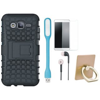 Oppo F3 Plus Shockproof Kick Stand Defender Back Cover with Ring Stand Holder, Tempered Glass, Earphones and USB LED Light
