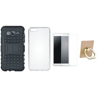 Vivo Y55 Shockproof Tough Armour Defender Case with Ring Stand Holder, Silicon Back Cover, Tempered Glass