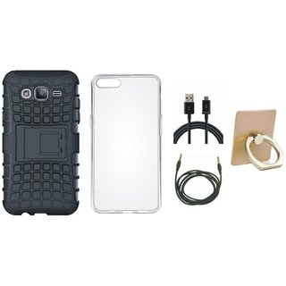 Vivo Y55 Shockproof Tough Armour Defender Case with Ring Stand Holder, Silicon Back Cover, USB Cable and AUX Cable