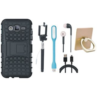 Oppo F3 Plus Shockproof Kick Stand Defender Back Cover with Ring Stand Holder, Selfie Stick, Earphones, USB LED Light and USB Cable