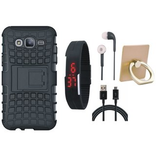 Oppo F3 Plus Shockproof Kick Stand Defender Back Cover with Ring Stand Holder, Digital Watch, Earphones and USB Cable
