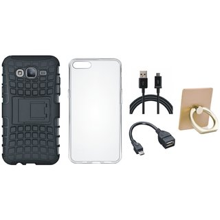 Vivo Y55L Defender Tough Armour Shockproof Cover with Ring Stand Holder, Silicon Back Cover, OTG Cable and USB Cable