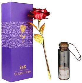 Atorakushon 24K Red Rose With Best Filling 1 Little Message Bottles Best Gift For Valentine Anniversary Birthday