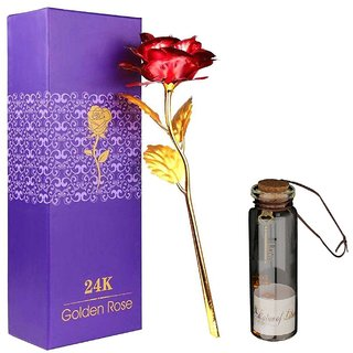 Atorakushon 24K Red Rose With Best Filling 1 Little Message Bottles Best Gift For Valentine Anniversary Birthday