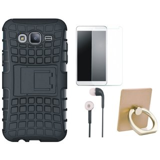 Vivo Y55L Shockproof Tough Armour Defender Case with Ring Stand Holder, Tempered Glass and Earphones