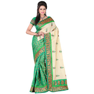 FkliQ Pink color Artsilk saree for women (1014Green)